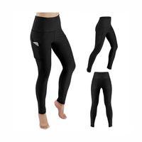 pantalones ajustados de talle alto al por mayor-Pantalones de yoga de la venta caliente con los bolsillos para las mujeres Gimnasio de cintura alta sólido medias de funcionamiento Pantalones elásticos largos de la yoga bolsillos cacerola tamaño de los EEUU S-XL