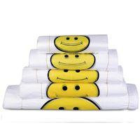 sacs en plastique transparent achat en gros de-Transparent Sourire Visage Portable Sacs En Plastique Sur Mesure Frais Matériau Imperméable Multi-usages Gilet Shopping Sacs de haute qualité 200pcs / lot
