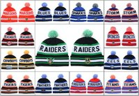 Wholesale Nationals Hats - 2018 Newest Men's Sport NRL Fashion Knitted Beanies National Rugby League Beanie Caps Cheap Green Color Pom-Pom Cuff Beanie Hats