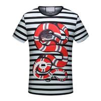 Wholesale Famous Shirts Women - 2018 new Summer black white stripe snake print famous Brand for men T-shirt Designer luxury tshirt Runway Tees cotton women Casual Tops
