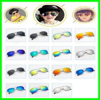 kinder sonnenbrille uv-schutz großhandel-Kindermode Sonnenbrillen Piolt Stil Bunte Legierung Kinder Sonnenbrille mit 100% UV-Schutz HD Baby Boys Party Glas Geschenke