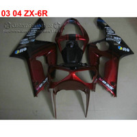 Wholesale aftermarket kawasaki ninja fairings for sale - Group buy Top quality fairings set for kawasaki Ninja ZX6R aftermarket ZX R red black fairing kit BW60