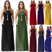 Wholesale solid maxi dresses wholesale - Dresses Women Maxi Casual Dress Sexy Sleeveless Dress Round Collar Elegant Sundress Slim Evening Party Dress Women's Vestidos Clothing B3910