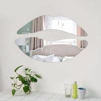 duvarlar için yatak odası çıkartmaları toptan satış-Modern Sabah Öpüşme Dudaklar Duvar Ayna Etiketler Yatak Odası Sanat Çıkartmaları Ev Dekorasyonu Dekorasyon