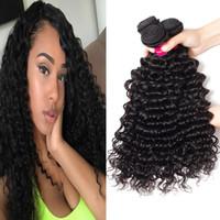 12 inç brazillian kıvırcık saç toptan satış-9A Vizon Brazillian İnsan Saç Paketler Derin Dalga Kinky Kıvırcık Gevşek Dalga Vücut Dalga Düz Işlenmemiş Brezilyalı Perulu Hint İnsan Saç
