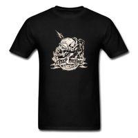 suéter de algodón negro al por mayor-Creep Machine T Shirt Hombres Skull T Shirt Negro Camisetas Horror Design Tops Tees Alta calidad Ropa de Hombre Suéter de algodón de Halloween