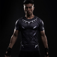 Wholesale men cosplay costume - Black Panther 3D Printed T-shirts Long Sleeve Captain America Cosplay Civil War tee Halloween Costumes Compression Male Tops