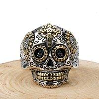joyería de plata esterlina mexicana de la vendimia al por mayor-Cráneo de plata Anillos gótica 925 Azúcar Día mexicano de la vendimia Muerto tallado Esqueleto Cruz Hombres Mujeres Y1892704 joyería fina