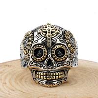ingrosso uomini argento messicano-Cranio 925 Anelli in argento sterling Gothic Sugar Messicano Giorno dei Morti Vintage scolpito Scheletro Croce per uomo donna gioielli Y1892704