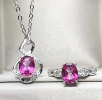 ingrosso set di gioielli in topazio rosa-Topazio rosa set Topazio rosa naturale 925 placcato argento 1pz anello 1pz ciondolo 1.1ct * 2pz gemma fine jewelry # F18051111