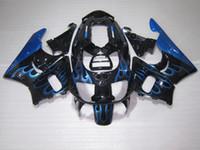 honda cbr 893 fairing toptan satış-Honda için CBR900RR CBR 893 1996 1997 7 gri çatlaklar siyah mavi alevler kaporta kiti CBR893 96 97 FG58