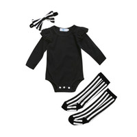 ingrosso calzini di tuta-Cute Neonato Ragazze Ruffle Pagliaccetto Tuta Calzettoni Leggings Vestiti Abiti Toddler Infant Girl Solid Casual Pagliaccetti Abbigliamento