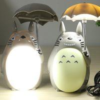 ingrosso tavolo ombrello-Il fumetto all'ingrosso My Neighbor Totoro Umbrella Lamp ha condotto le lampade di scrittorio della tabella di lettura della luce notturna del USB per la novità del regalo dei bambini Trasporto libero
