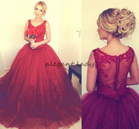 Wholesale womens flowered jackets resale online - Exquisite Dark Red Ball Gown Prom Dresses Illusion Lace Appliques Puffy Quinceanera Gowns Womens Formal evening Dress Plus Size Cheap