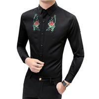 Wholesale man s formal occasion - 2018 Hot Sale White Black Men Shirt Print Groom Tuxedos Best Man Groomsmen Men Wedding Shirts Formal Occasion Shirts 3XL-M