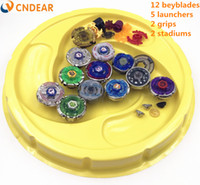 Wholesale beyblade launcher free online - Beyblade stadium Metal Fusion D Freies spinner top launcher and grip arena children toys