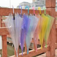 Wholesale clear umbrellas for wedding resale online - Transparent Clear EVC Umbrella Dance Performance Long Handle Umbrellas Beach Wedding Colorful Umbrella for Men Women Kids