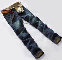 mavi kot pantolon düğmeleri toptan satış-Toptan-Marka tasarımcısı mens kot yüksek kaliteli mavi siyah renk düz erkekler moda bisikletçinin kot düğmesi sinek pantolon için kot yırtık
