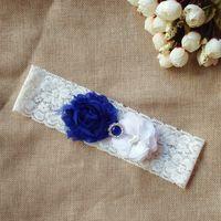 Wholesale Vintage Wedding Garter Sets - 2pcs new wedding garter set Keepsake white bridal lace garter with blue rhinestones stretch toss vintage inspired