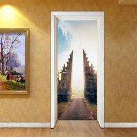 cool 3d wallpaper großhandel-2 teile / satz Gebäude 3D Tür Aufkleber Wandbild Abstrakte Kunst Tapete Straße Vinyl Aufkleber Kühlen Wohnzimmer Schlafzimmer Dekoration