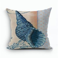 Wholesale men beds for sale - Starfish Shell Mediterranean Wind Seabird Cotton Linen Pillow Case Man Woman Bedroom Sofa Soft Cushion Cover Bedding Supplies kz bb