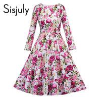 ingrosso kimono chiffon rosa-Sisjuly vintage dress retrò verde rosa stampa floreale anni '50 stile elegante o collo partito lavoro autunno inverno abiti manica lunga