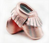 rosa rose baby schuhe großhandel-16color New Shine Rosa Echtes Leder Baby Mokassins Erste Wanderer Weiche Rose Gold Baby Mädchen Schuhe Infant Fringe Schuhe 0 -30month