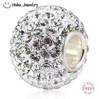 cristal 925 perlas de plata al por mayor-Haha Jewelry 10X13 Gran encanto con 130 piezas de cuentas de cristal austriaco en plata de ley 925 Cuentas de un solo núcleo para Pandora Charms Fabricación de pulseras