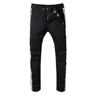 Wholesale light blue clothes - Balmain clothing designer pants slp blue black destroyed mens slim denim straight biker skinny jeans men ripped jeans