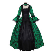 Wholesale period clothing online - Victorian Gothic Georgian Period Dress Halloween Masquerade Ball Gown Reenactment Clothing