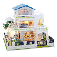 Wholesale miniature diy assemble toys resale online - Assemble Diy Doll House Toy Wooden Miniatura Doll Houses Miniature Dollhouse Toys With Furniture Led Lights Kids Birthday Gifts
