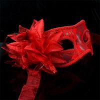 ingrosso maschere di piuma fatte a mano-Trasparente Masquerade Maschera di plastica fatta a mano pura fiore di filato con gigli di piuma maschere sexy con multicolore rifornimenti del partito Decor 2 6mg jj
