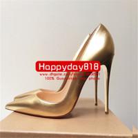 taille des talons en or femmes achat en gros de-Livraison gratuite Mode femmes Or cuir mat point toe chaussures de mariage à talons hauts chaussures à talons minces pompes en cuir véritable 120mm Grande taille