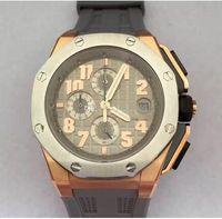ingrosso orologio in oro rosa grigio-AAA Top Quality Offshore Brand New 18k Oro rosa Cronografo al quarzo Mens Orologio sportivo Smoke Grey Orologi da polso da uomo cinturino in gomma.