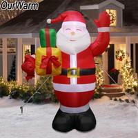 santa inflável venda por atacado-OurWarm Inflável Papai Noel Ao Ar Livre Decorações De Natal para Casa Quintal Jardim Decoração Feliz Natal Bem-vindo Arcos