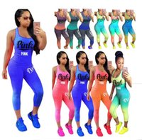 Wholesale women color block tops - Love Pink Letter Tracksuit Sleeveless Scoop Neck Tank Top Crop leggings Gradient Color Block Set Women Fitness Sports Gym Vest Pants Suits