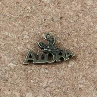 Wholesale diy jewelry for sale - ALOHA Charms Pendants x14mm Antique bronze Alloy Jewelry DIY Fit Bracelets Necklace Earrings