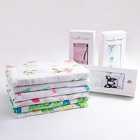 Wholesale Towel Gift Wrapping - Blankets Baby Swaddle Muslin Bamboo Wrap Organic Cotton Baby Blanket Newborns Wrap Bedding Blanket Towel With Gift Packing DHL Free Shipping