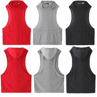 Wholesale hooded singlets - New Mens Stringer Bodybuilding Tank Top fitness Hooded vest Solid Gym Cotton Singlet Tanks Fitness Clothes Y-Back Tanks Wholesale Free Shipp