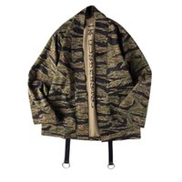 Wholesale japanese fashion kimono - Japanese Camo Kimono Jackets Japan Style Mens Hip Hop Camouflage Casual Open Stitch Coats Fashion Streetwear Jacket