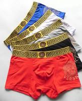 Wholesale Underwear Boxers Color - Men Underwear Boxers Soft Cotton 5 Color M-XXL Breathable Letter Underpants Shorts Luxury Brand Design Cuecas Tight Waistband OMG
