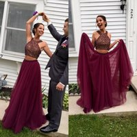 Wholesale photo cropping - Stunning Burgundy Two Pieces Prom Dress Long Beaded Crop Top Jewel Neck Tulle Skirt Burgundy Evening Party Gowns Custom Made