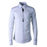 paçavra gömleği toptan satış-Yüksek Kaliteli pamuk karışımı Erkekler elbise Gömlek Uzun Kollu Placket nakış Beyaz Siyah Erkekler Gömlek Boyutu S --- 3XL Camisa Masculino