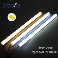 cubiertas de la esquina al por mayor-5PCS / Lot 50CM LED Bar light 5730 V Shape Corner perfil de aluminio con cubierta curva, Wall Corner Light DC12V, LED Cabinet