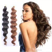 trenzas rizadas afro kanekalon al por mayor-trenzas de ganchillo extensión del cabello trenzado kanekalon cabello de onda profunda paquetes de cabello de ganchillo afro rizado rizado sintético ombre