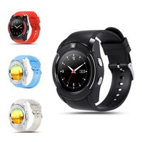 smartwatch hd toptan satış-V8 Akıllı İzle Saat Sim TF Kart Yuvası Ile Bluetooth ios Android Telefon için Uygun Smartwatch IPS HD Tam Daire Ekran MTK6261D
