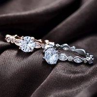 cuivre zircon platine achat en gros de-New Platinum Diamond Ring pour les femmes de la mode Creative Copper plaqué anneau Rose or Zircon bague de mariage