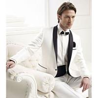 черные мужские костюмы слоновая кость оптовых-Custom Made Groomsmen Shawl Black Lapel Groom Tuxedos Ivory Mens Suits Wedding Best Men suit (Jacket+Pants+Tie+Girdle)