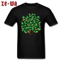 plantación de manzano al por mayor-Camiseta del día del padre Hombres Apple Tree Print camiseta Summer Spring Tops O cuello camisetas de dibujos animados amante de la planta ropa de algodón Simple Casual
