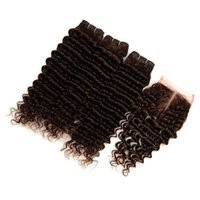 dentelle marron chocolat achat en gros de-Peruvian Chocolate Brown Virgin Bundles de cheveux humains Offres 3Pcs avec fermeture Deep Wave # 4 Tissage de cheveux brun foncé avec 4x4 fermeture à lacets